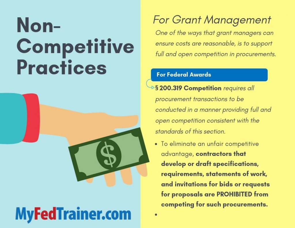 Non-competitive practices for grant management